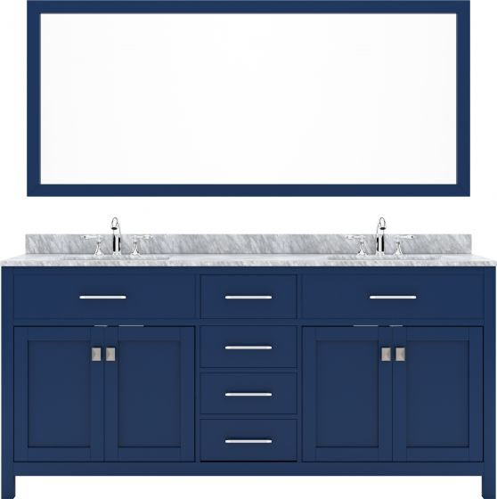 """Virtu USA - MD-2072-WMSQ-FB-002 - Caroline 72"""" Double Square Sink Marble Top Vanity in Blue with Polished Chrome Faucet and Mirror"""