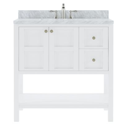 Virtu USA - ES-30036-WMRO-WH-NM - Winterfell 36 in. Bathroom Vanity Set front view