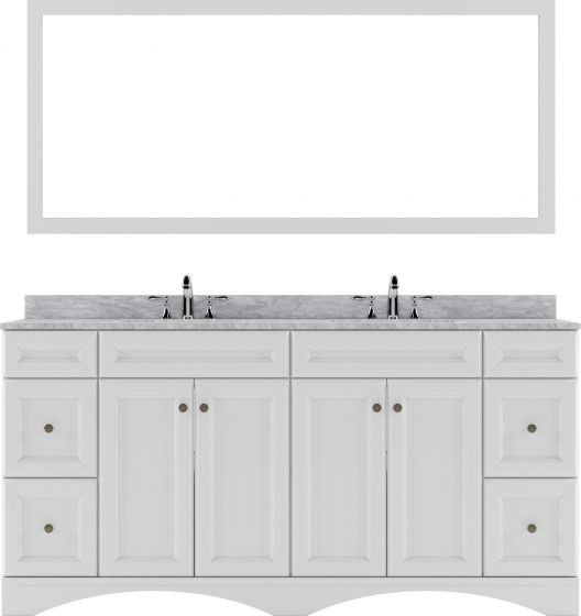 """Virtu USA - ED-25072-WMRO-WH - Talisa 72"""" Double Round Sink Marble Top Vanity in White with Mirror"""