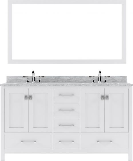 "Virtu USA - GD-50060-WMRO-WH - Caroline Avenue 60"" Double Round Sink Marble Top Vanity in White with Mirror"