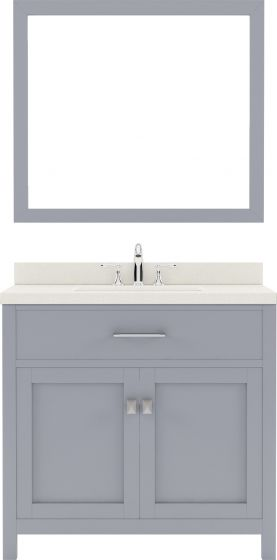"Caroline 36"" Single Bath Vanity in Grey with Dazzle White Quartz Top and Square Sink with Mirror"