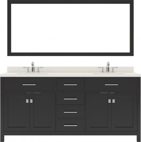 """Caroline 72"""" Double Bath Vanity in Espresso with Dazzle White Quartz Top and Square Sink with Brushed Nickel Faucet and Mirror"""
