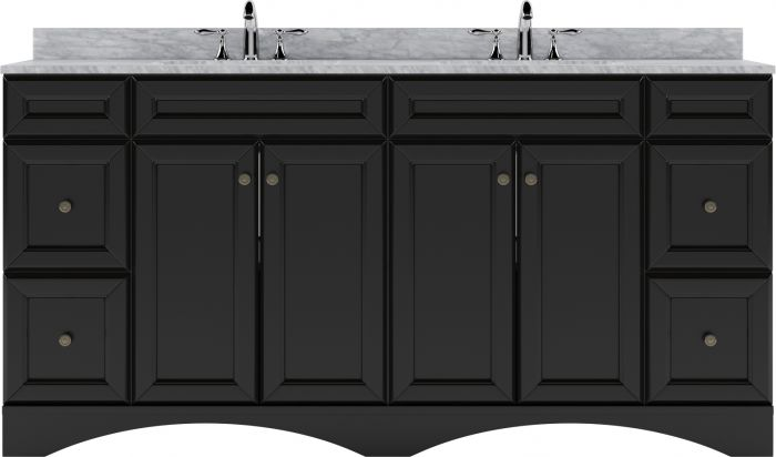 """Virtu USA Talisa 72"""" (ED-25072-WMSQ-ES-NM) Double Bathroom Vanity in Espresso with Marble Top and Square Sink"""