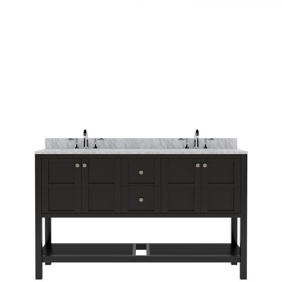 """Winterfell 60"""" (ED-30060-WMSQ-ES-NM) Double Bathroom Vanity in Espresso with Marble Top and Square Sink"""