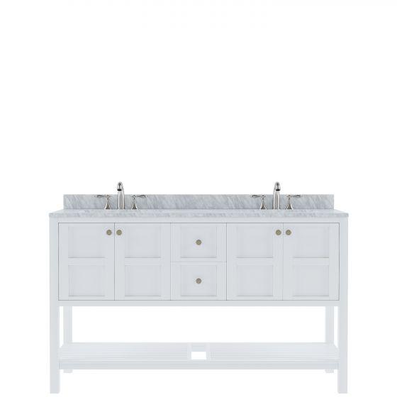 """Winterfell 60"""" (ED-30060-WMSQ-WH-NM) Double Bathroom Vanity in White with Marble Top and Square Sink"""