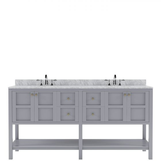 Virtu USA - ED-30072-WMSQ-GR-NM - Winterfell 72 in. Bathroom Vanity Set white background