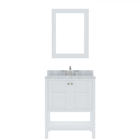 "Virtu USA - ES-30030-WMRO-WH - Winterfell 30"" Single Round Sink Marble Top Vanity in White with Mirror"