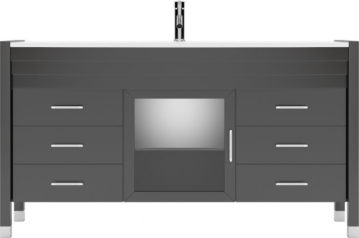 """Ava 61"""" (MS-5061-S-ES-NM) Single Bathroom Vanity in Espresso with White Engineered Stone Top and Round Sink with Polished Chrome Faucet"""