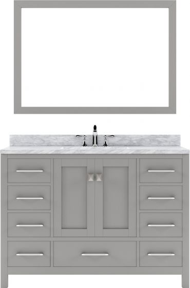 """Virtu USA - GS-50048-WMSQ-CG-002 - Caroline Avenue 48"""" Single Bathroom Vanity in Cashmere Grey with Marble Top and Square Sink with Polished Chrome Faucet and Mirror"""