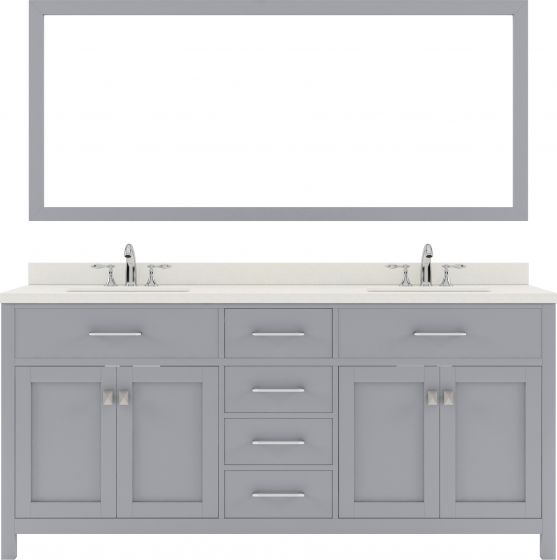 """Caroline 72"""" Double Bath Vanity in Grey with Dazzle White Quartz Top and Square Sink with Mirror"""