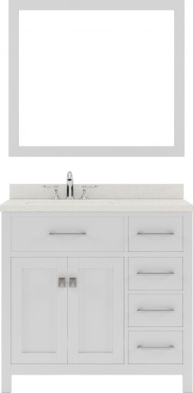 """Caroline Parkway 36"""" Single Bath Vanity in White with Dazzle White Quartz Top and Round Sink with Polished Chrome Faucet and Mirror"""