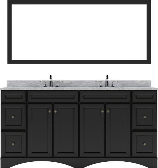 """Virtu USA - ED-25072-WMRO-ES-001 - Talisa 72"""" Double Bath Vanity in Espresso with White Marble Top and Round Sinks with Brushed Nickel Faucets and Matching Mirror"""
