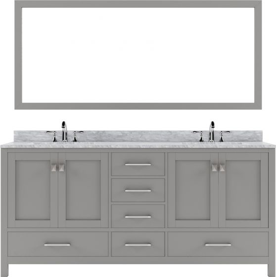 """Virtu USA - GD-50072-WMSQ-CG-001 - Caroline Avenue 72"""" Double Bathroom Vanity in Cashmere Grey with Marble Top and Square Sink with Brushed Nickel Faucet and Mirror"""