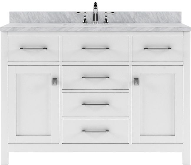 """Virtu USA - MS-2048-WMSQ-WH-NM - Caroline 48"""" Single Square Sink Marble Top Vanity in White without Mirror"""