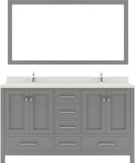 """Caroline Avenue 60"""" Double Bath Vanity in Cashmere Grey with Dazzle White Quartz Top and Square Sink with Mirror"""