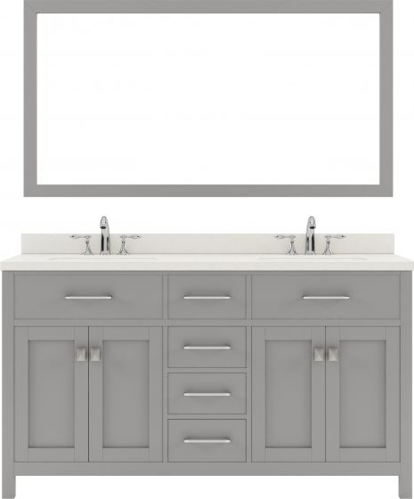 """Caroline 60"""" Double Bath Vanity in Cashmere Grey with Dazzle White Quartz Top and Square Sink with Polished Chrome Faucet and Mirror"""