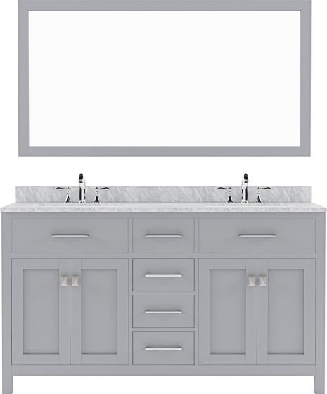 """Virtu USA - MD-2060-WMSQ-GR-001 - Caroline 60"""" Double Square Sink Marble Top Vanity in Grey with Brushed Nickel Faucet and Mirror"""