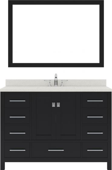 """Caroline Avenue 48"""" Single Bath Vanity in Espresso with Dazzle White Quartz Top and Square Sink with Polished Chrome Faucet and Mirror"""