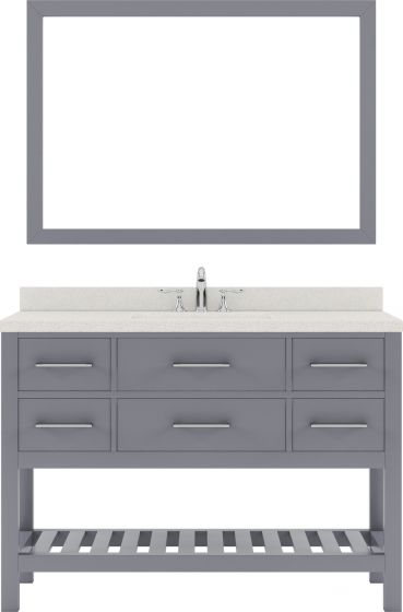 """Caroline Estate 48"""" Single Bath Vanity in Grey with Dazzle White Quartz Top and Square Sink with Polished Chrome Faucet and Mirror"""