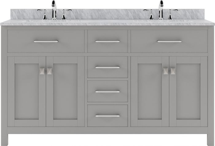 """Virtu USA - MD-2060-WMRO-CG-NM - Caroline 60"""" Double Bathroom Vanity in Cashmere Grey with Marble Top and Round Sink"""