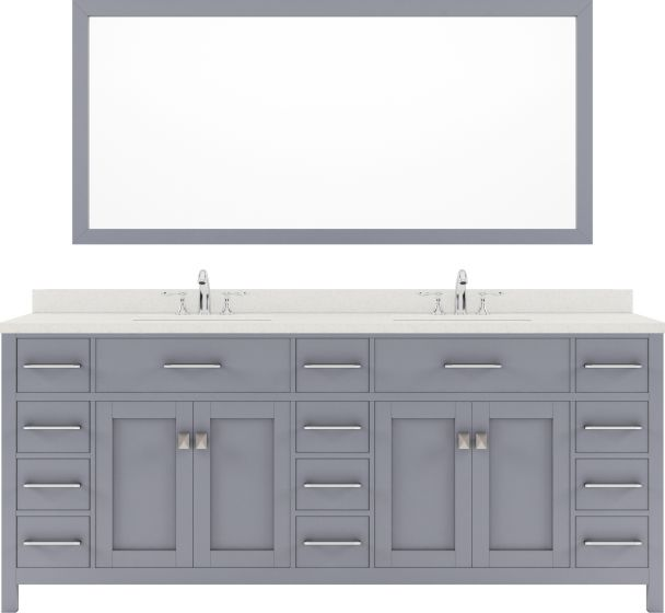 """Caroline Parkway 78"""" Double Bath Vanity in Grey with Dazzle White Quartz Top and Round Sink with Mirror"""