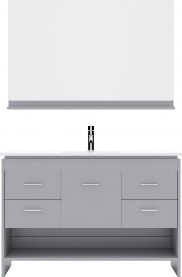 """Virtu USA - MS-575-THNB-GR-001 - Gloria 48"""" Single Bathroom Vanity in Grey with White Ceramic Top and Square Sink with Brushed Nickel Faucet and Mirror"""