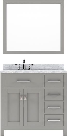"""Virtu USA - MS-2136R-WMRO-CG-002 - Caroline Parkway 36"""" Single Bathroom Vanity with Marble Top Polished Chrome Faucet and Mirror in Cashmere Grey"""