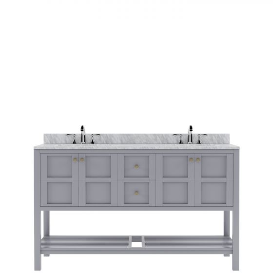 """Virtu USA - ED-30060-WMRO-GR-002-NM - Winterfell 60"""" Double Bath Vanity in Gray with White Marble Top and Round Sinks with Polished Chrome Faucets"""