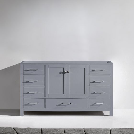 """Virtu USA - (GS-50060-CAB-GR) Caroline Avenue 60"""" Cabinet Only in Grey Finish front view"""
