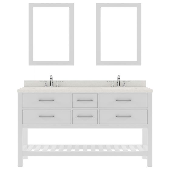 """Caroline Estate 60"""" Double Bath Vanity in White with Dazzle White Quartz Top and Round Sink with Polished Chrome Faucet and Mirrors"""