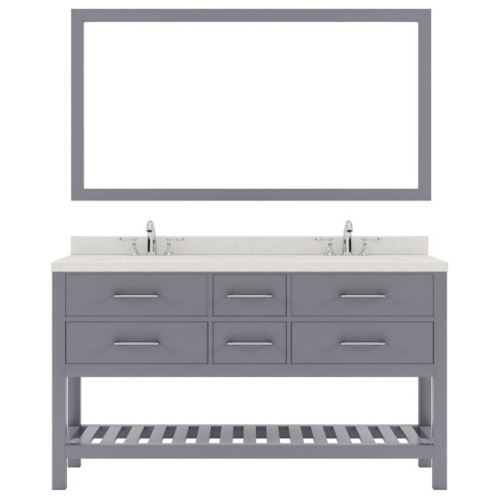 """Virtu USA - MD-2260-DWQSQ-GR-010 - Caroline Estate 60"""" Double Bath Vanity in Gray with White Quartz Top and Matching Mirror"""