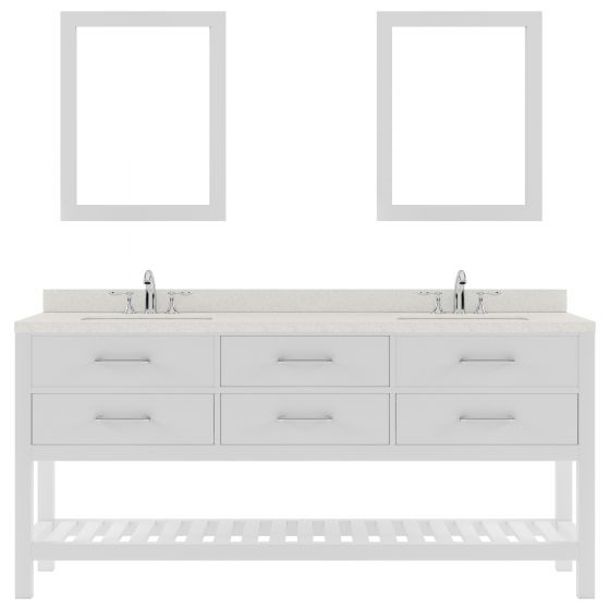 """Caroline Estate 72"""" Double Bath Vanity in White with Dazzle White Quartz Top and Round Sink with Mirrors"""