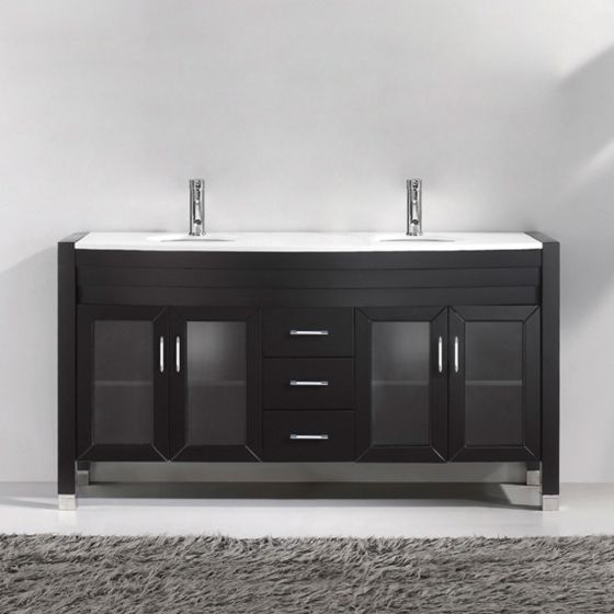 """Ava 63"""" (MD-499-S-ES-NM) Double Bathroom Vanity in Espresso with White Engineered Stone Top and Round Sink"""