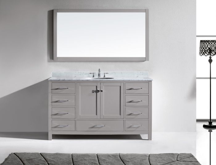 """Caroline Avenue 60"""" (GS-50060-WMRO-CG) Single Bathroom Vanity in Cashmere Grey with Marble Top and Round Sink with Mirror"""