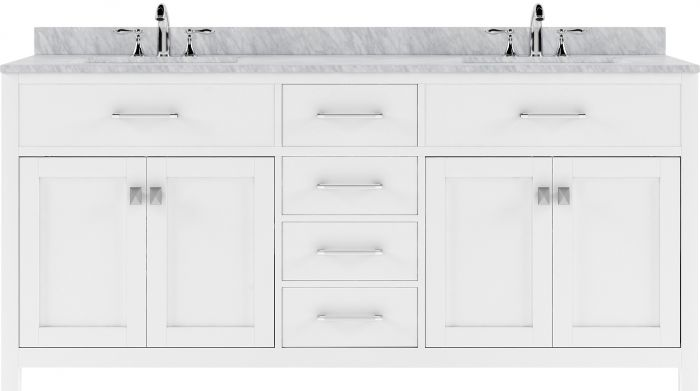"""Caroline 72"""" (MD-2072-WMRO-WH-NM) Double Bathroom Vanity in White with Marble Top and Round Sink"""