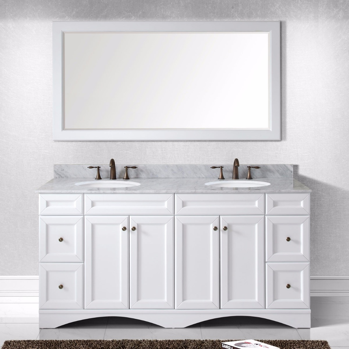 Virtu USA ED-25072-WMRO-WH Talisa 72 inch Double Round Sink Marble Top Vanity in White with Mirror