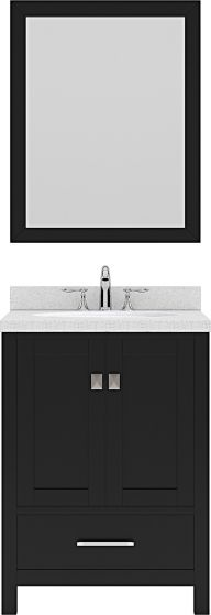 "Caroline Avenue 24"" Single Bath Vanity in Espresso with Dazzle White Quartz Top and Round Sink with Mirror"