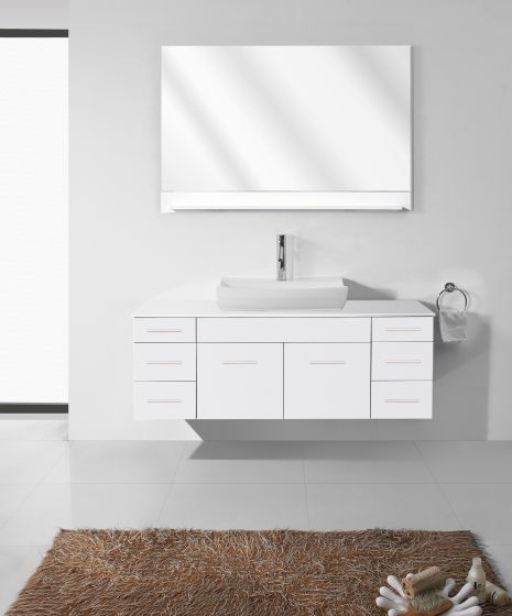 Virtu USA - UM-3083-S-WH - Biagio 56 in. Bathroom Vanity Set front view