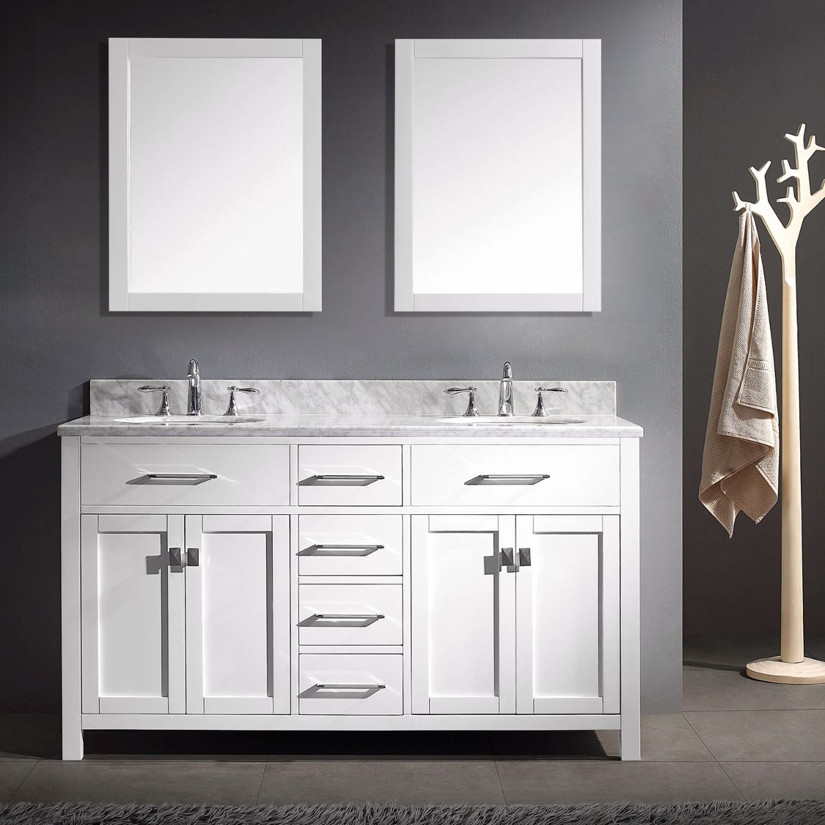 Virtu Usa Md 2060 Wmro Wh 020 Caroline 60 Inch Double Vanity With Top And Double Mirrors