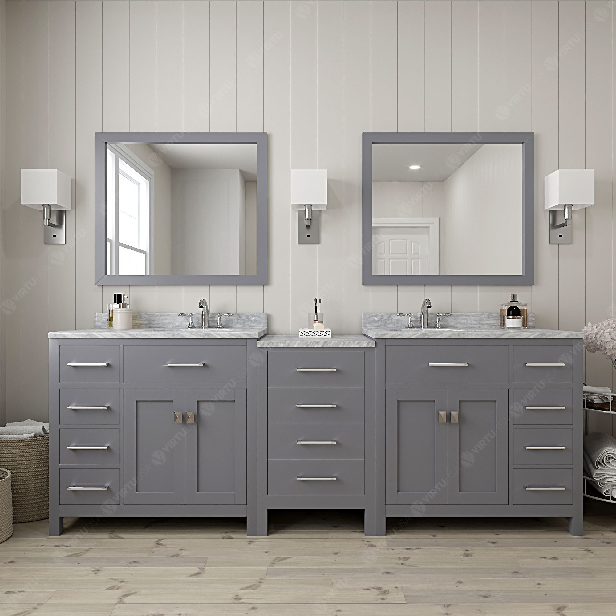 Caroline Parkway 93 Double Bath Vanity in White with Marble Top and Square Sink