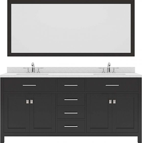 "Caroline 72"" Double Bath Vanity in Espresso with Dazzle White Quartz Top and Round Sink with Mirror"