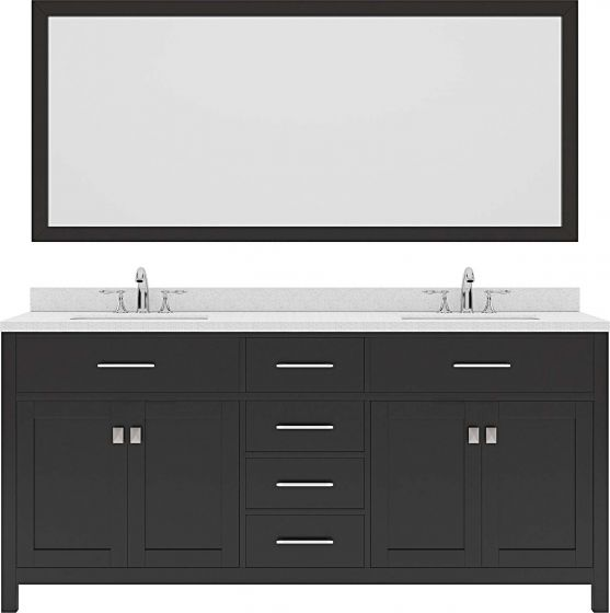 "Caroline 72"" Double Bath Vanity in Espresso with Dazzle White Quartz Top and Square Sink with Brushed Nickel Faucet and Mirror"