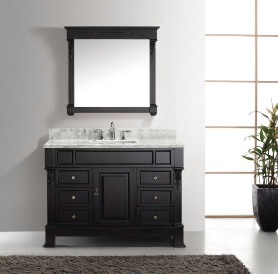 """Virtu USA - MS-2948-WMSQ-DW-001 - Huntshire Manor 48"""" Single Square Sink Marble Top Vanity in Dark Walnut with Brushed Nickel Faucet and Mirror front full view"""
