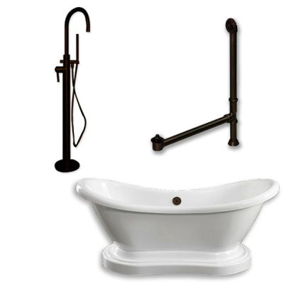 Cambridge Plumbing - ADES-PED-150-PKG-ORB-NH - Acrylic Double Ended Pedestal Slipper Bathtub 68