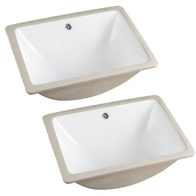 Federico (GS-2-BAS-SQ-TWO) 18 in. W White Square Ceramic Undermount Basin - Set of 2