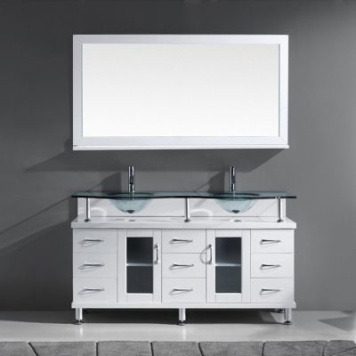 Virtu USA - MD-61-G-WH - Virtu USA Vincente Rocco 59 in. Bathroom Vanity Set front view
