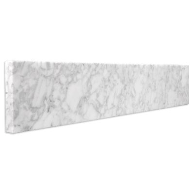 Italian Carrara White Marble Sidesplash - whitebackground angled view
