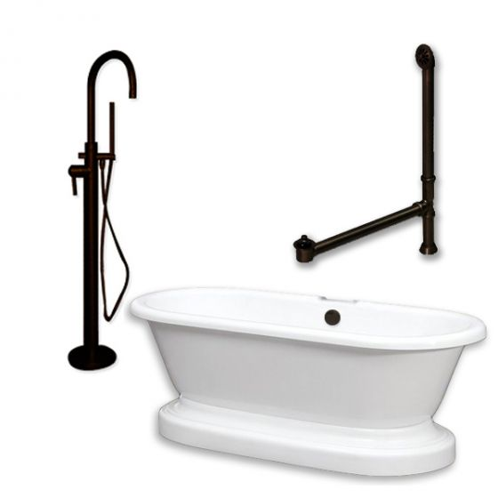 Cambridge Plumbing - ADEP-150-PKG-ORB-NH - Acrylic Double Ended Pedestal Bathtub 70 in.X 30 in. Bathtub Close Up