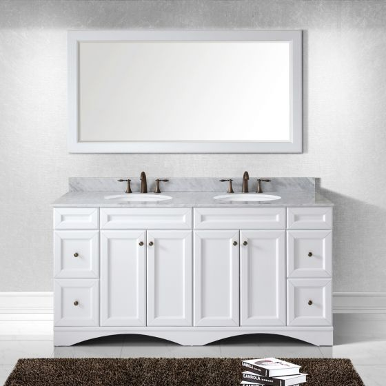 "Virtu USA - ED-25072-WMRO-WH - Talisa 72"" Double Round Sink Marble Top Vanity in White with Mirror"