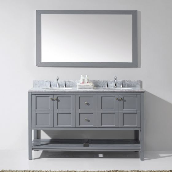 "Winterfell 60"" (ED-30060-WMRO-GR-002) Double Bathroom Vanity in Grey with Marble Top and Round Sink with Polished Chrome Faucet and Mirror"